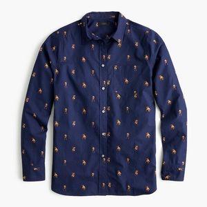 J. Crew Navy/Pitbull Print Long Sleeve Shirt Sz. 4